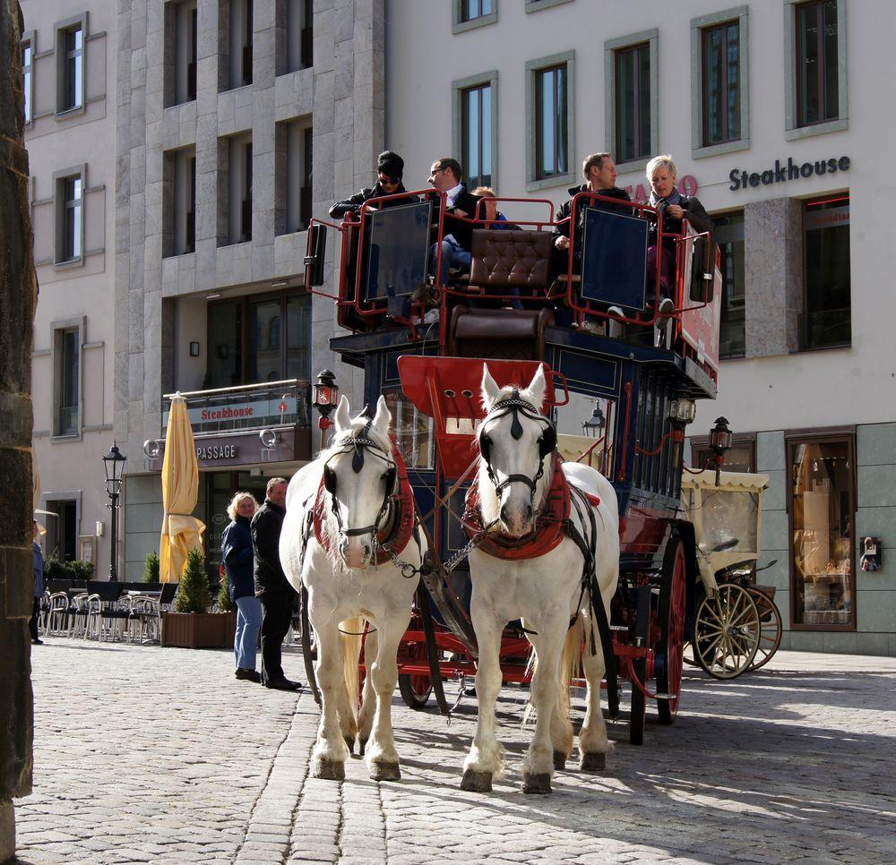Doppelstock-Pferdekutsche am Dresdner Neumarkt neben der Frauenkirche