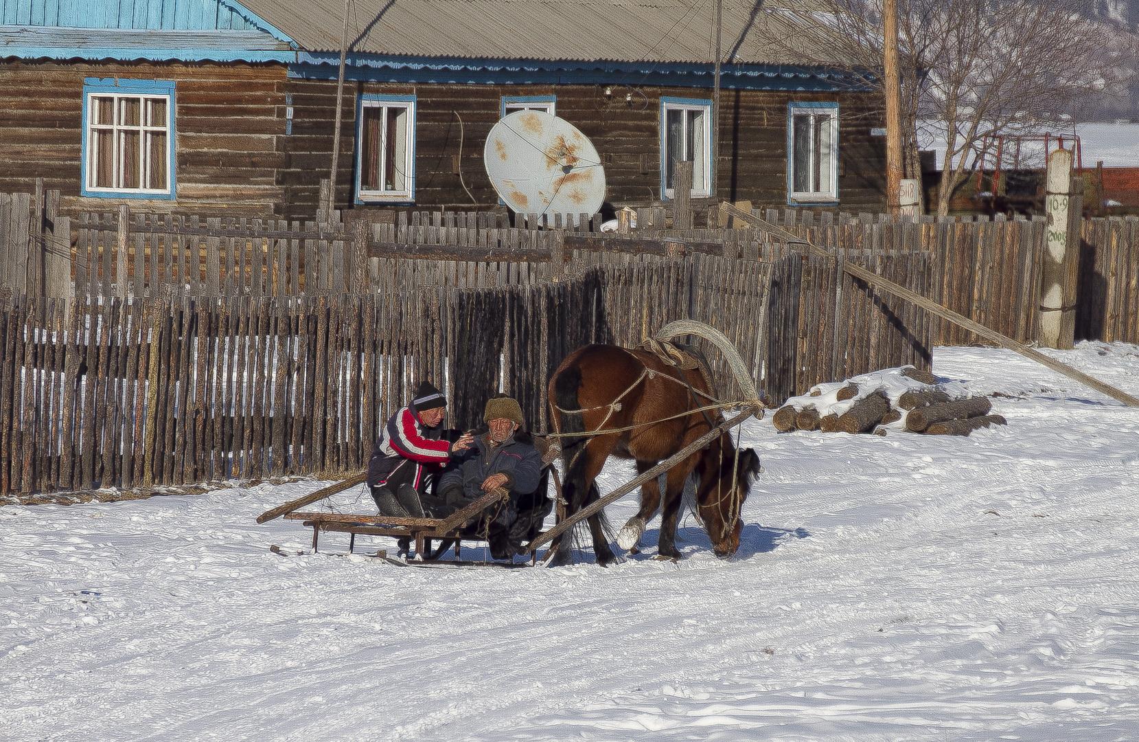 Dorf in Burjatien im Winter