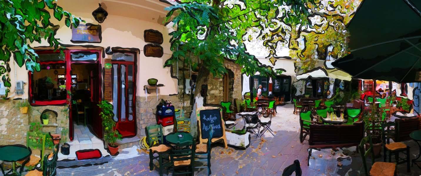 Dorfsplatz in Raches auf der griechischen Insel IKARIA