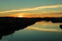 Dortmund-Ems Kanal bei Sonnenuntergang