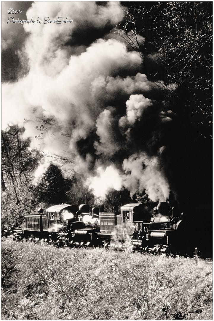 Double-Headed Steam in West Virginia Autumn