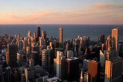 Downtown Chicago im Abendlicht