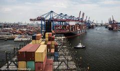 Drehmanöver in den Waltershofer Hafen Hamburg