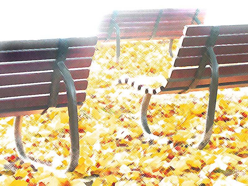 Drei Bänkle im Herbst