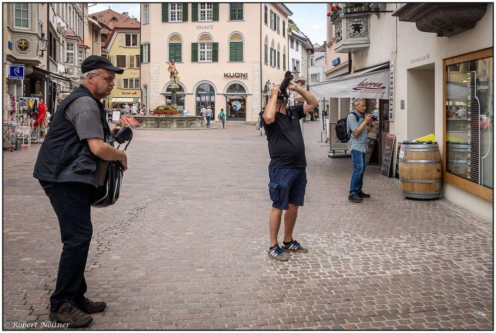 Drei Fotofreunde in Schaffhausen