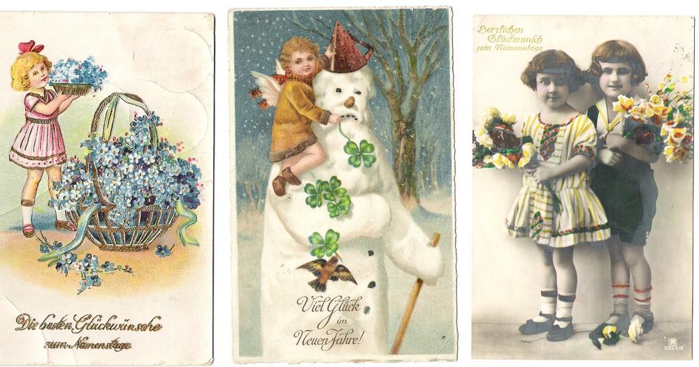 Drei Glückwunsch-Postkarten aus den 1920er Jahren