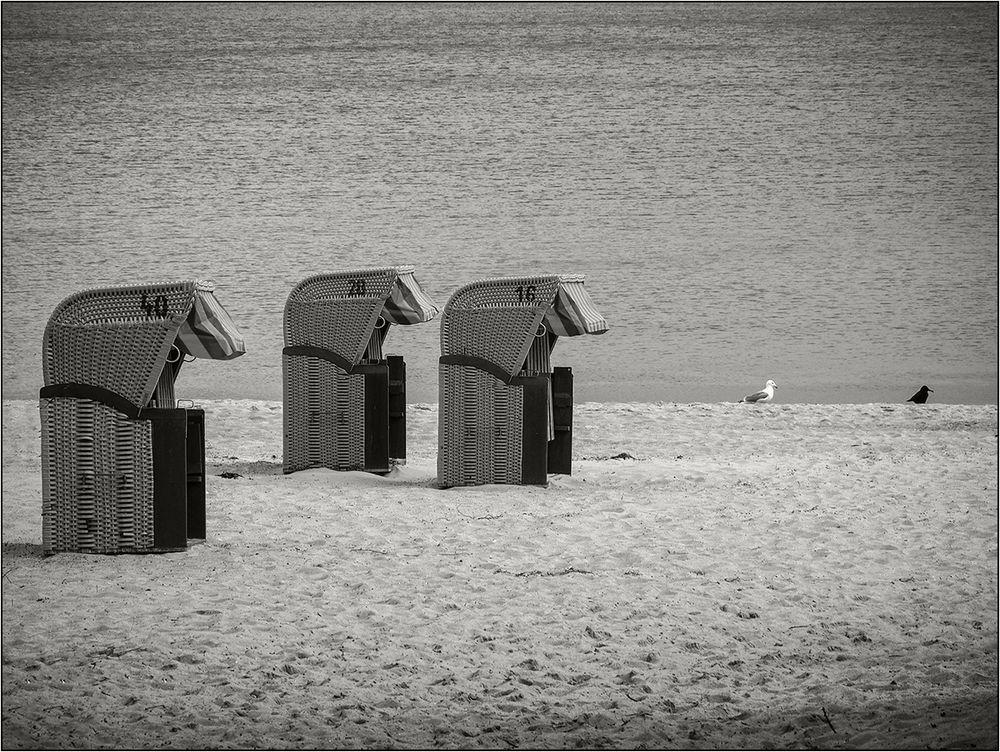 Drei Strandkorb-Pacmen ...