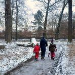 Drei Winterwanderer im Schnee