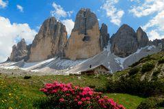 Drei Zinnen mit Lange Almhütte in den Dolomiten