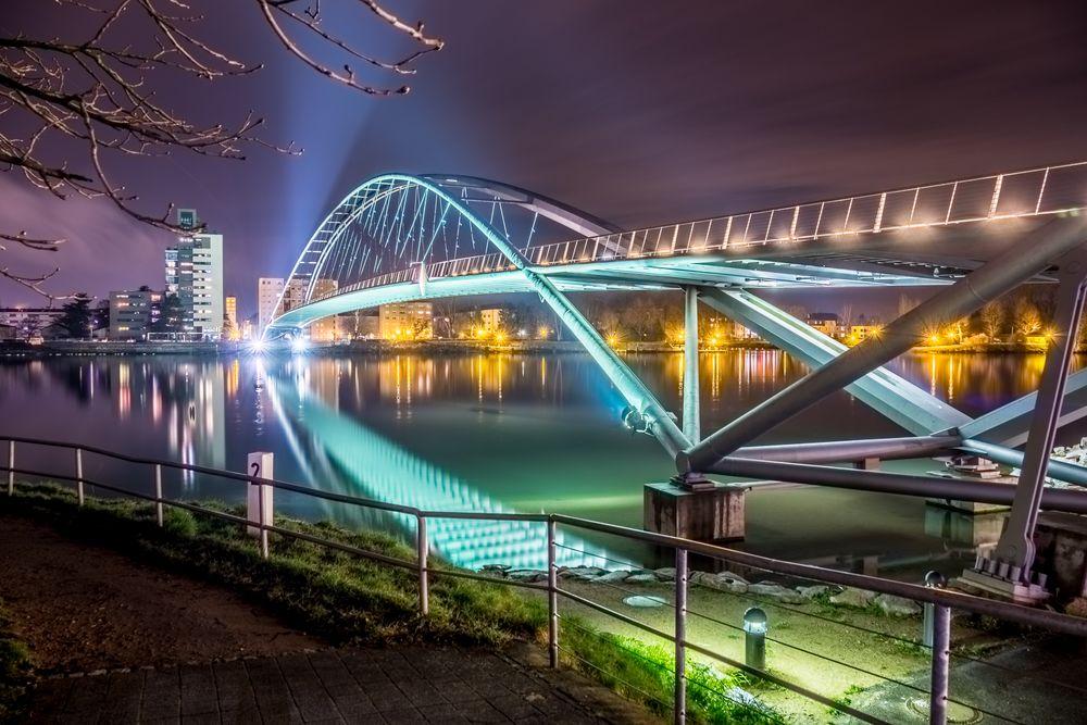 Dreiländerbrücke Weil am Rhein Foto & Bild | wasser, nacht
