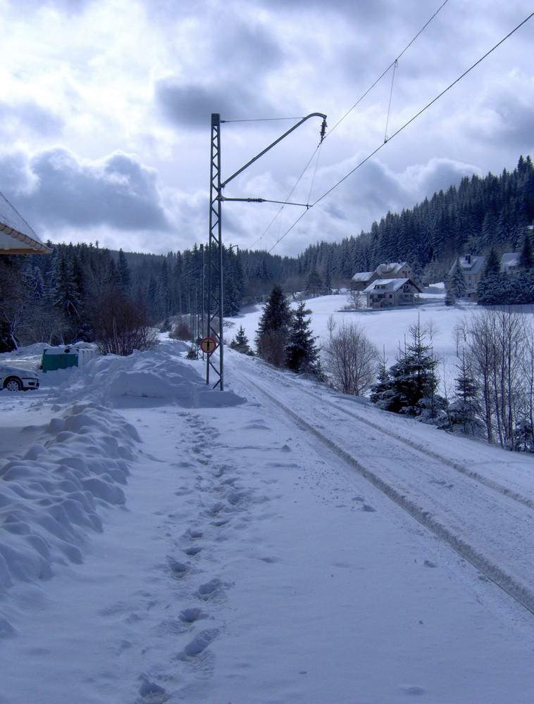 Dreiseenbahn im Schnee