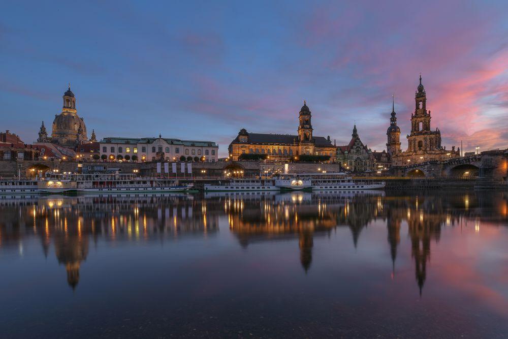 Dresden Altstadt bei Sonnenuntergang