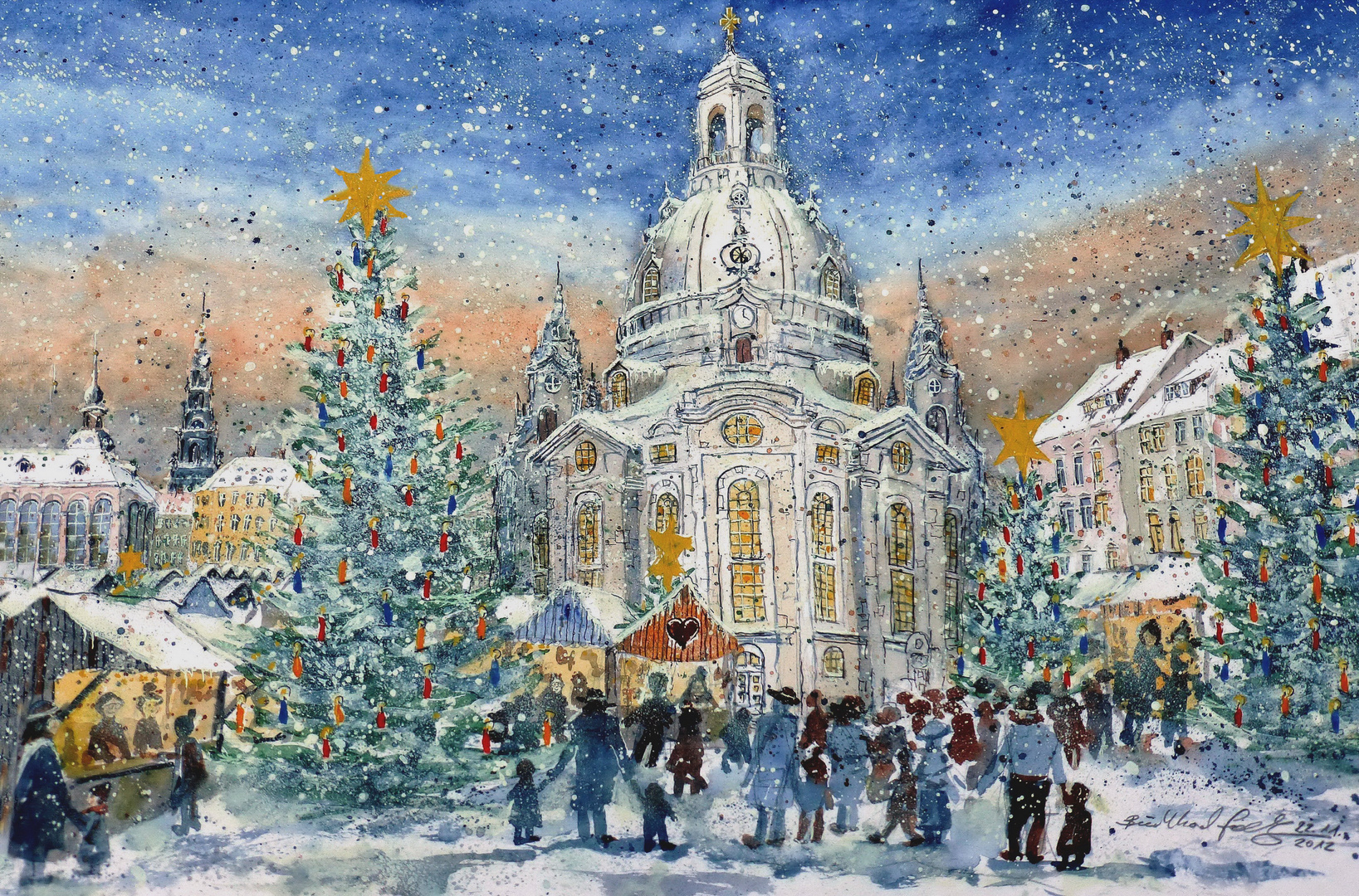 dresdener frauenkirche mit weihnachtsmarkt foto bild. Black Bedroom Furniture Sets. Home Design Ideas