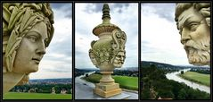 Dresdner Lingnerschloss, rekonstruierte Vasen auf der Dachbalustade