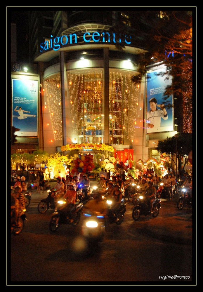 Driving by night in Saigon