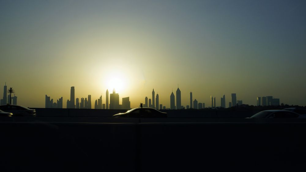 Dubai Skyline Sonnenuntergang