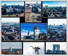 Düsseldorf - Blick auf Altstadt und Stadt vom Riesenrad am Rheinufer