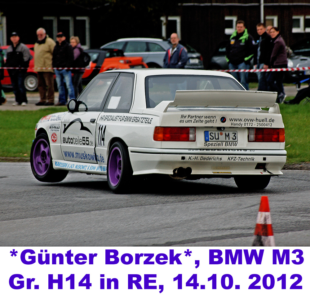 E30 BMW M3, Auto Slalom, Günter Borzek, Gr.H14 (H bis 2000) in Neuss, 14.10. 2012
