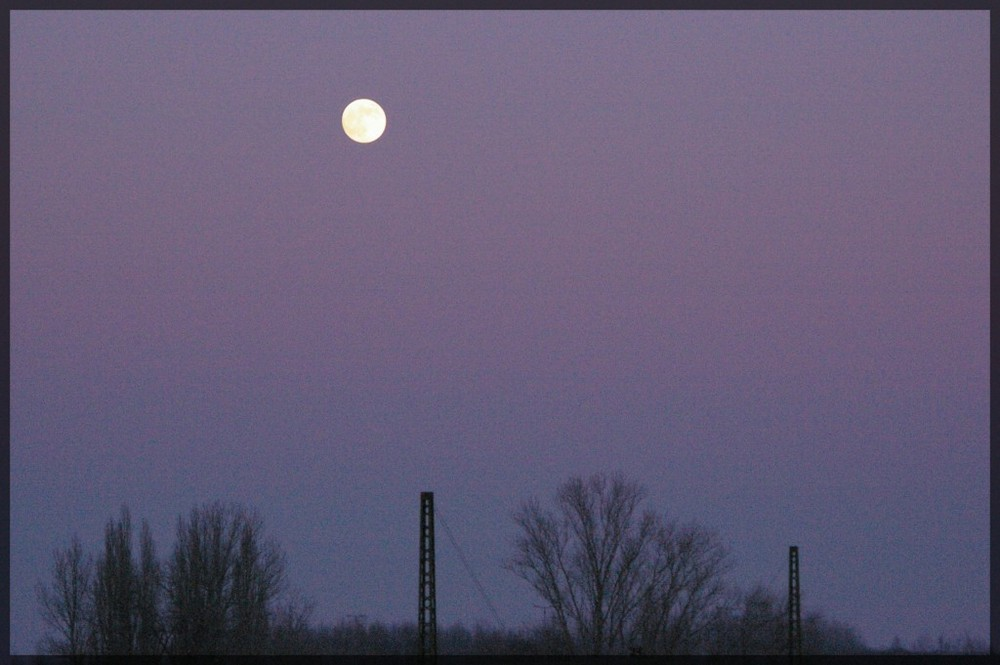 Early moon at sunset
