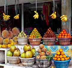 Echoppe de fruits (cocos, ananas, durians ...)