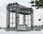 Ehemalige Eisenbahn-Hubbrücke, Karnin, am Peenestrom - 1932-34 bis 29.04.1945