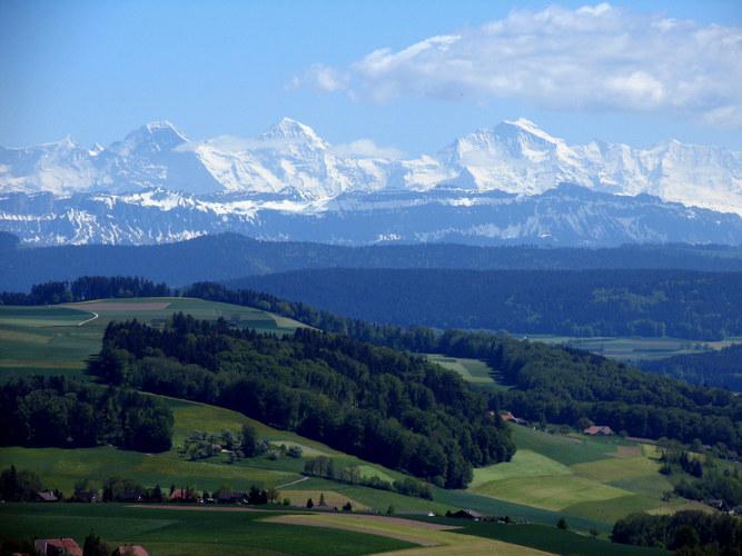 Eiger/Jungfrau/Monch_Swiss Alps as seen from Bolligen near Bern Switzerland