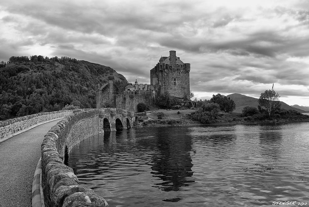 Eilean Donan Castle in black & white