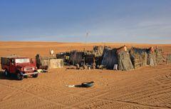 Ein Beduinenzelt in der Wüste Wahiba
