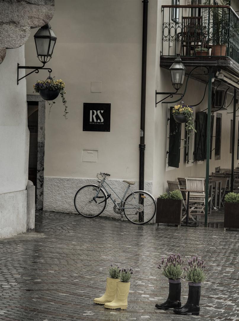 Ein Fahrrad in Laibach