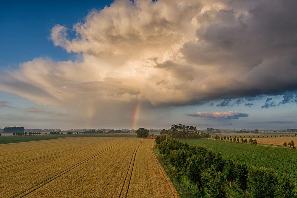 Ein ganz kleines Regengebiet über den Feldern