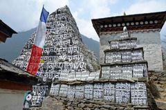 Ein Gebetsstein am Kloster von Chuthawa auf 2600 m Höhe