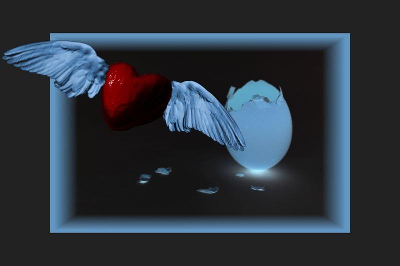 ein Herz ist aus dem Ei geschlüpft