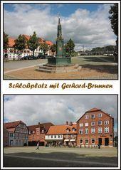 Ein historisches Denkmal der Gerhardsbrunnen auf dem Schloßplatz in Rendsburg.