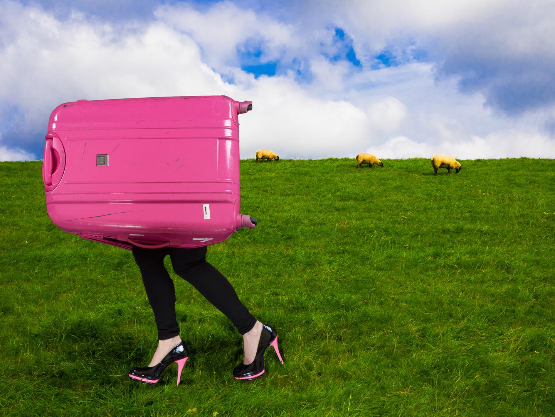 Ein Koffer auf Reisen