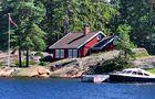Ein rotes Haus im Oslofjord