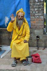 Ein Sadhu in der Altstadt von Kathmandu