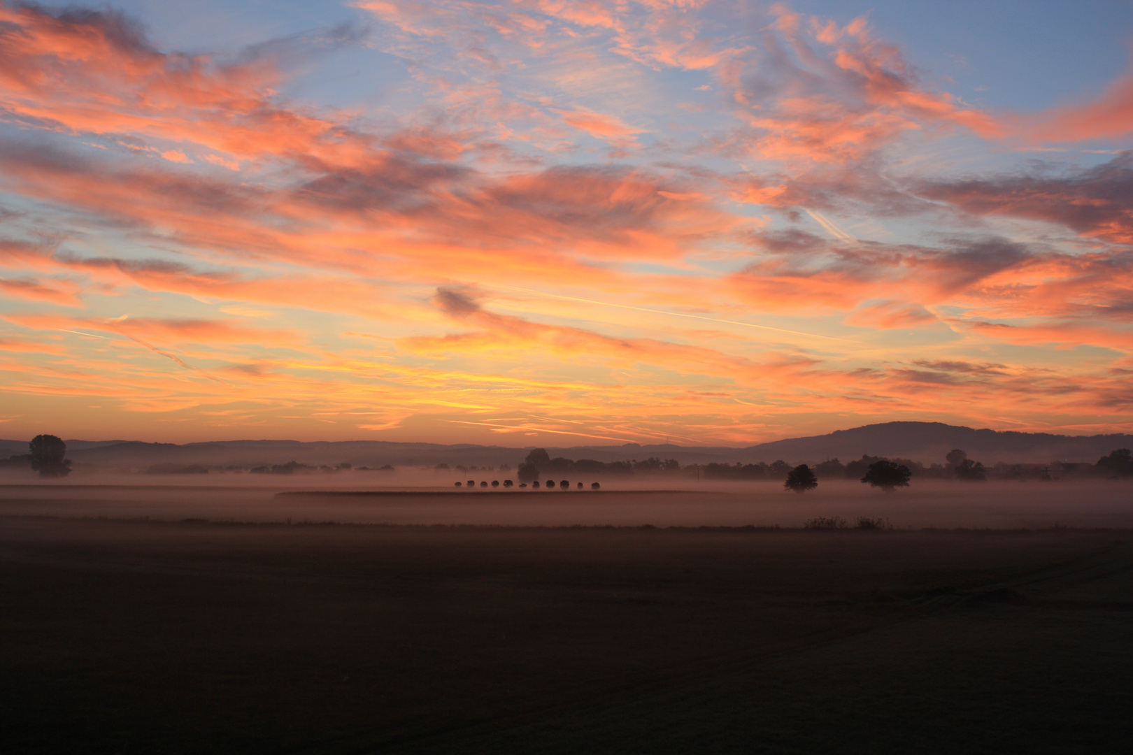 Ein Sonnenaufgang in Franken.
