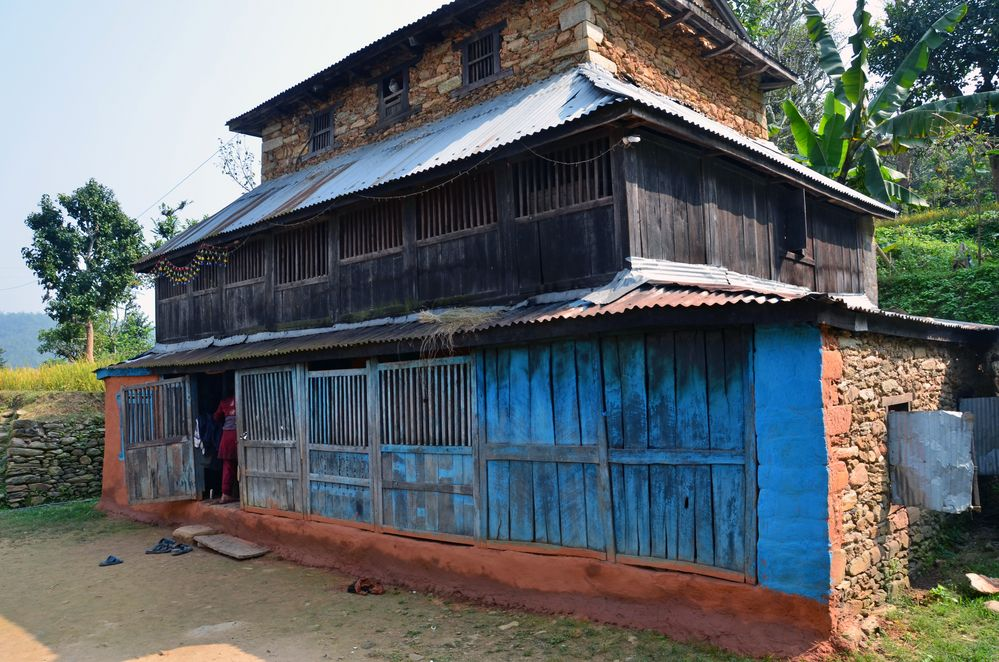 Ein traditionelles Wohnhaus im Dörfchen Bungkot bei Gorkha