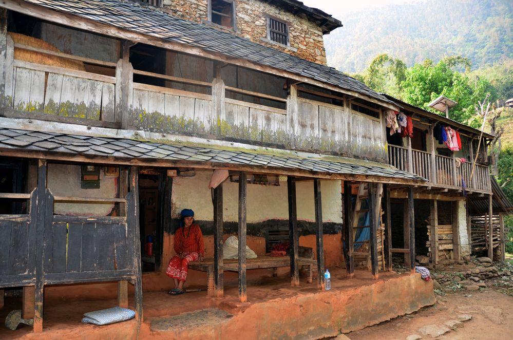 Ein typisches Bauernhaus in Bungkot bei Gorkha