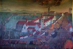 Eine alte Ansicht des Klosters Reichenau mit dem Münster
