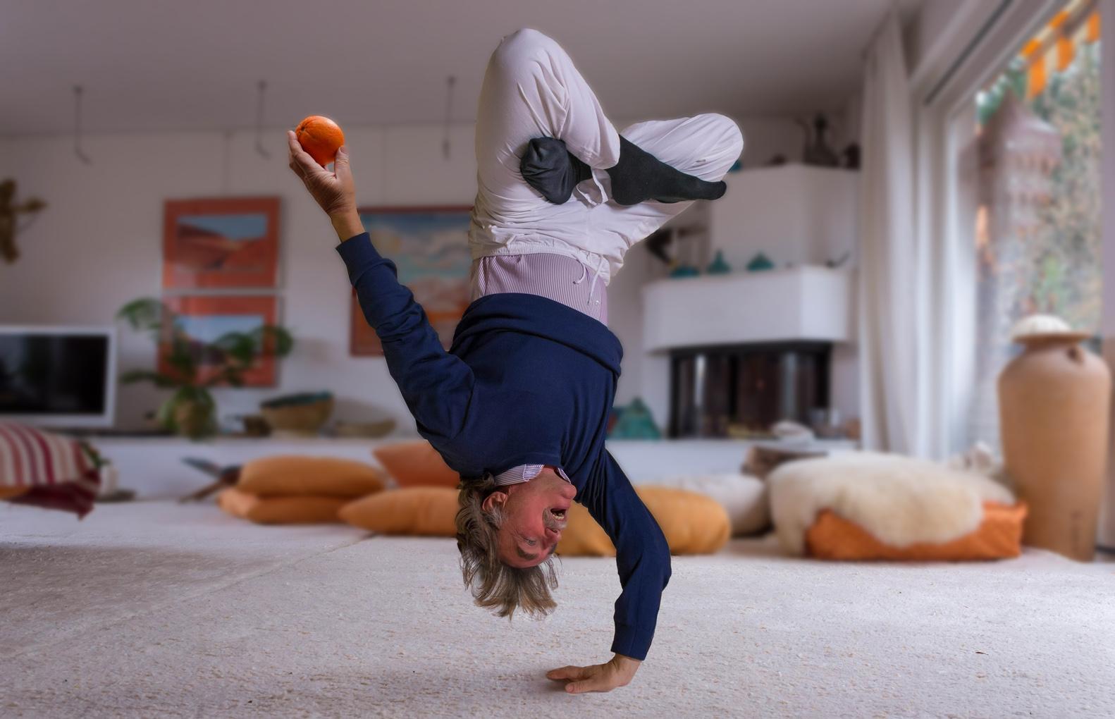 .....eine Apfelsine leicht schwebend aussehen lassen