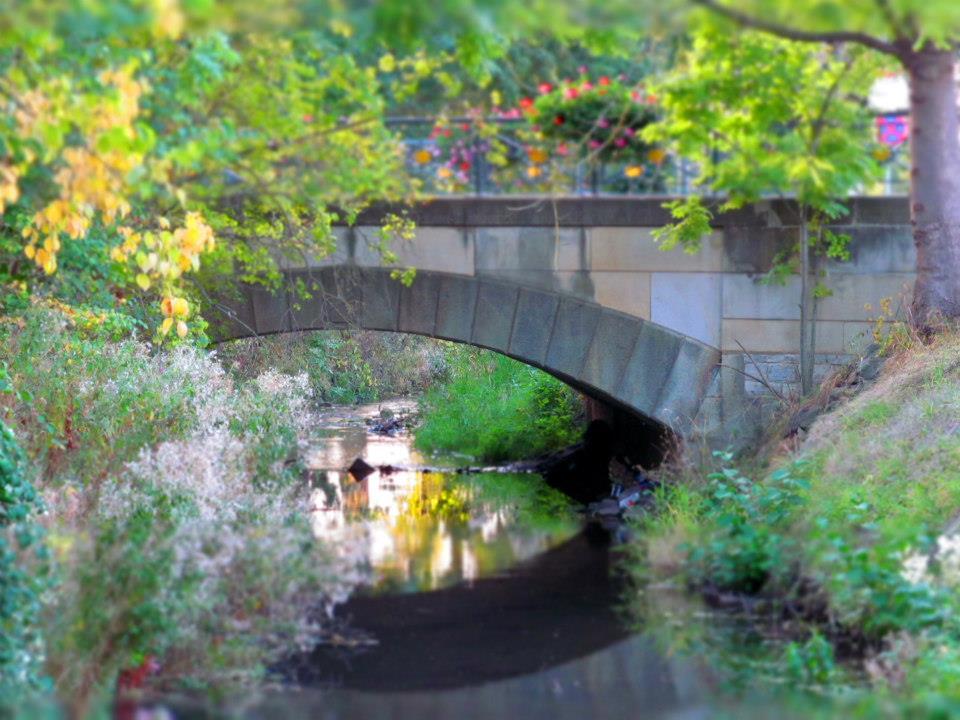 Eine Brücke im Sommer.