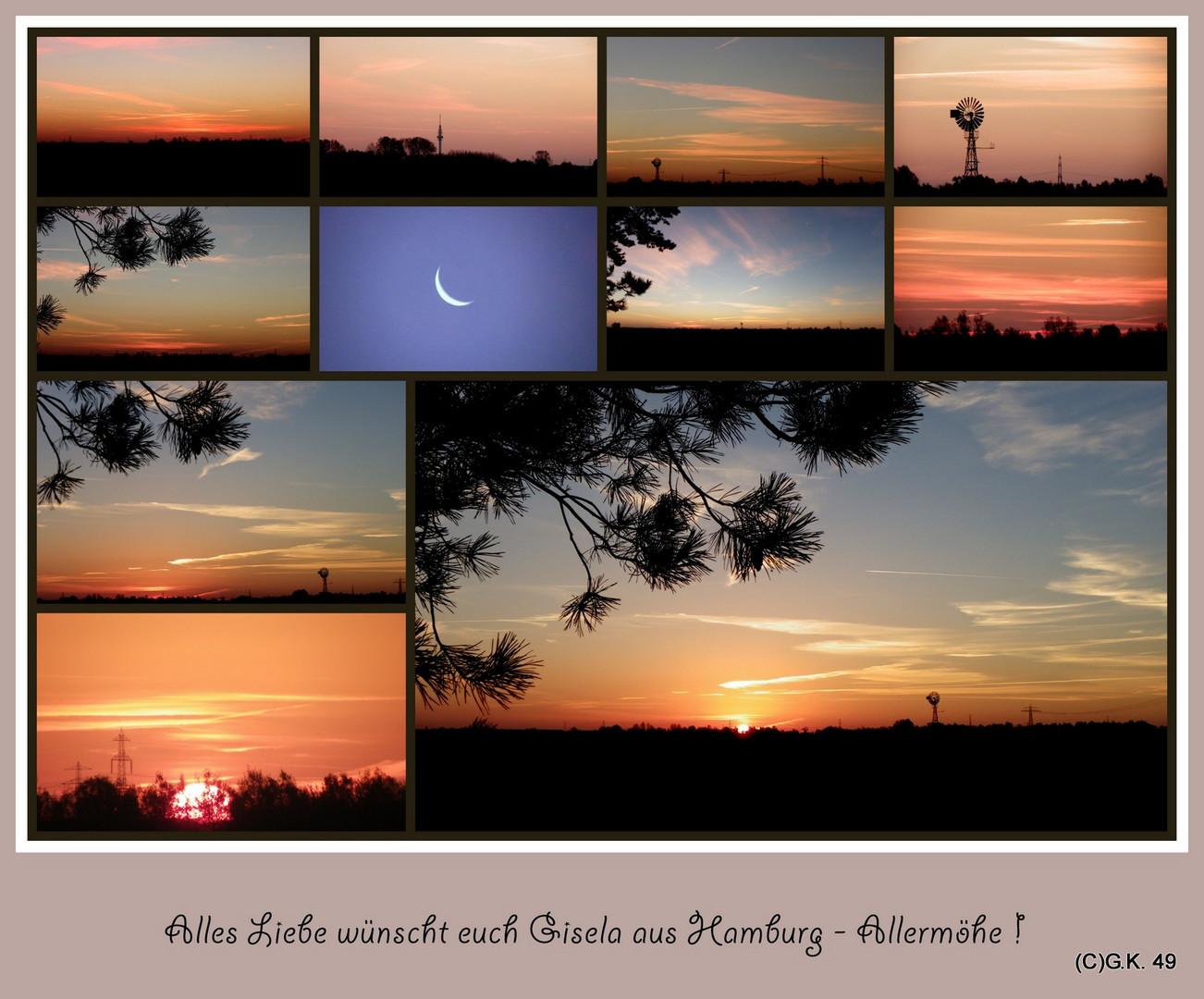 Eine Collage vom Sonnenaufgang !
