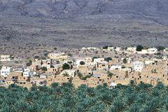 Eine Ortschaft am Rand vieler Palmen.