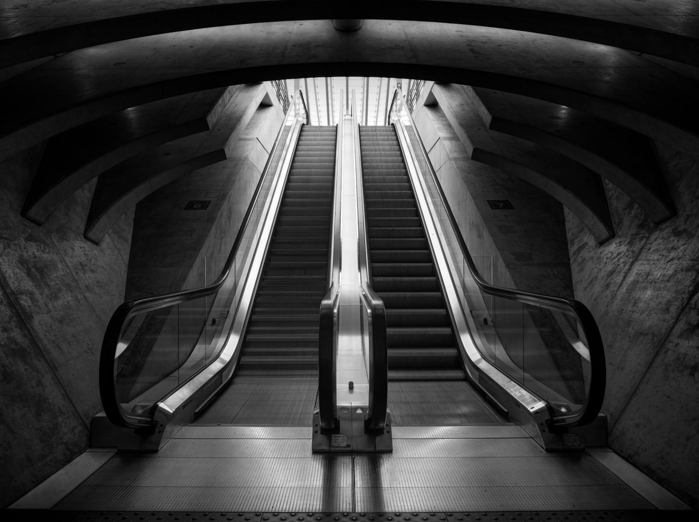 Eine Rolltreppe in Lüttich