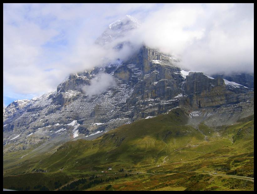 eine super schöne Aussicht auf die Eiger Nordwand am Ende des Jungfrau Marathons