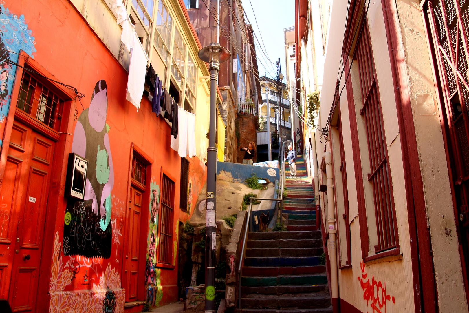 Eine Treppe in Valparaiso