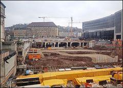 Einen Blick auf die Stuttgarter Baustelle Bahnhof 21...