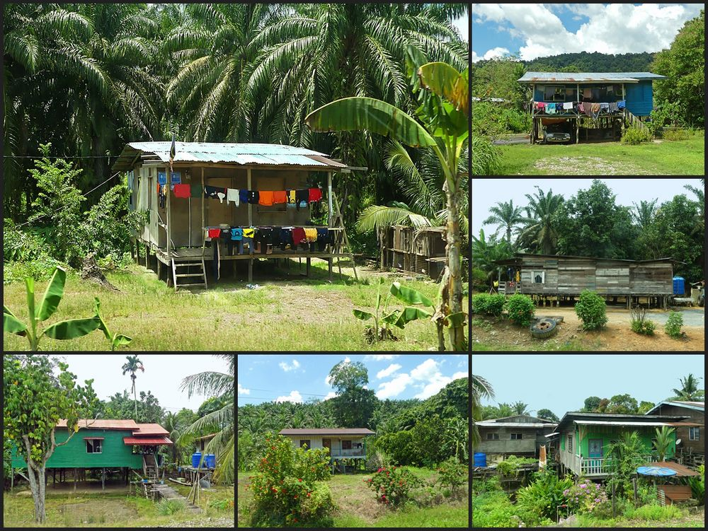 Einfache Holzstelzenhäuser