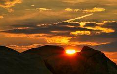 Eingebetteter Sonnenuntergang auf dem Brocken